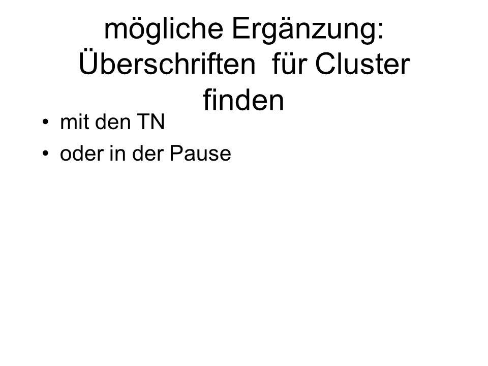 mögliche Ergänzung: Überschriften für Cluster finden mit den TN oder in der Pause