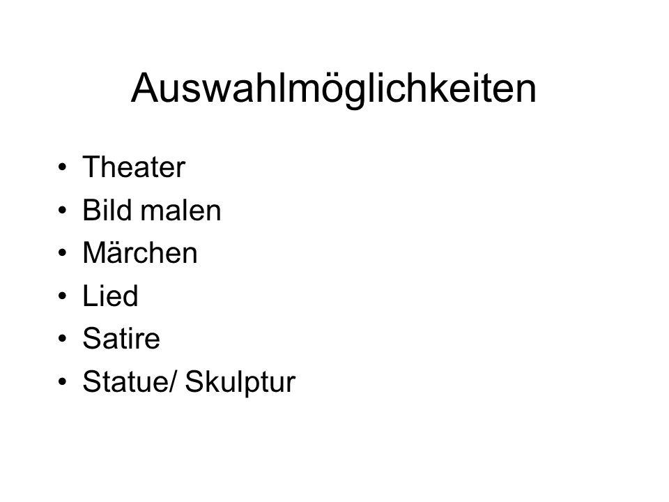 Auswahlmöglichkeiten Theater Bild malen Märchen Lied Satire Statue/ Skulptur