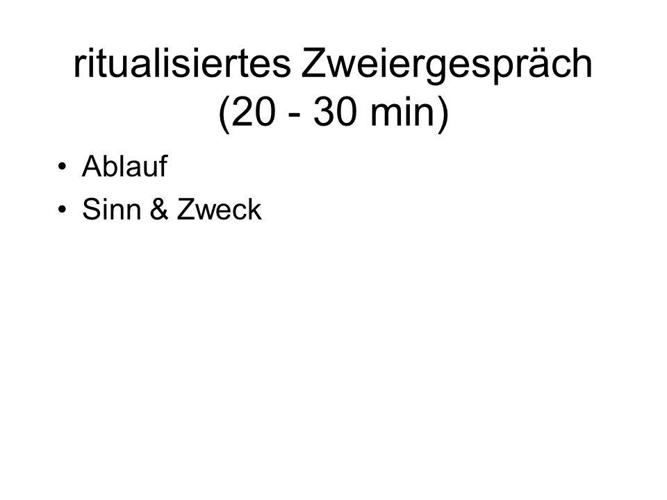 ritualisiertes Zweiergespräch (20 - 30 min) Ablauf Sinn & Zweck