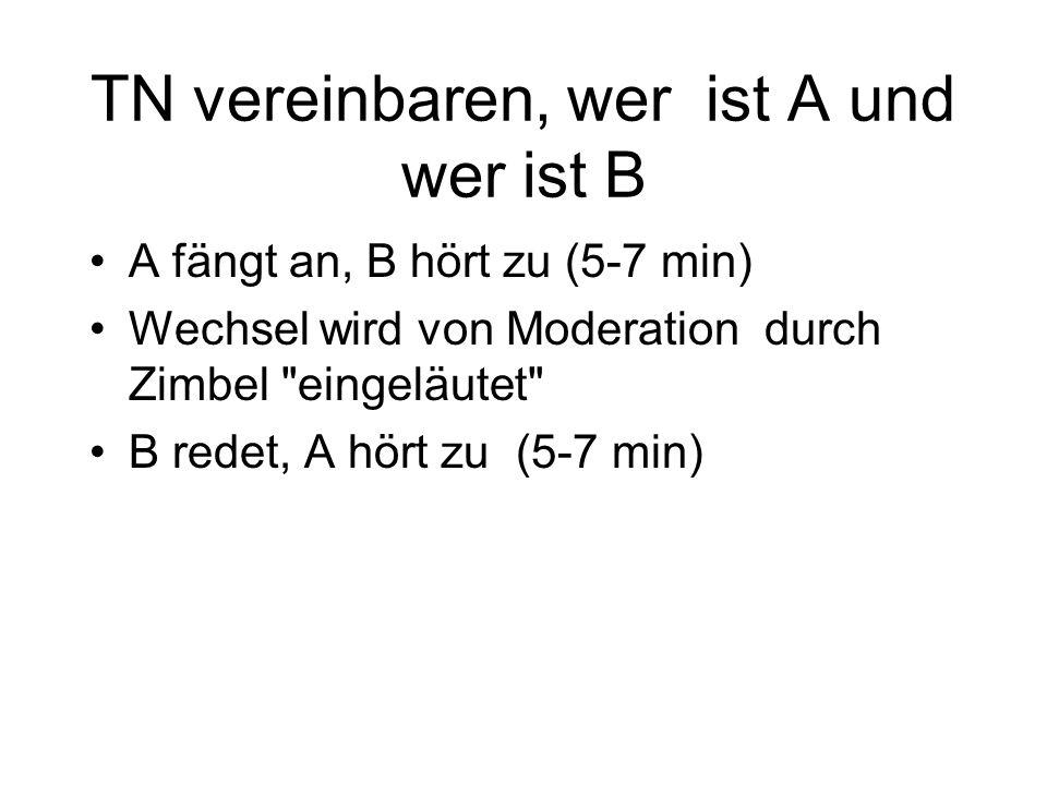 TN vereinbaren, wer ist A und wer ist B A fängt an, B hört zu (5-7 min) Wechsel wird von Moderation durch Zimbel