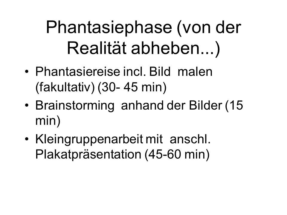 Phantasiephase (von der Realität abheben...) Phantasiereise incl. Bild malen (fakultativ) (30- 45 min) Brainstorming anhand der Bilder (15 min) Kleing