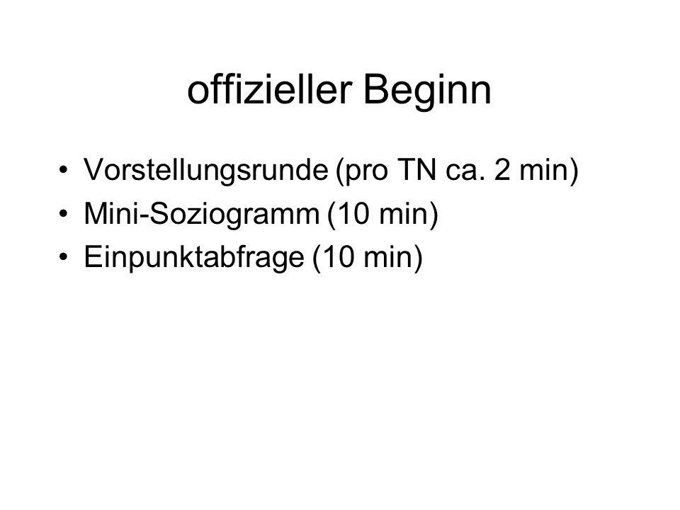 offizieller Beginn Vorstellungsrunde (pro TN ca. 2 min) Mini-Soziogramm (10 min) Einpunktabfrage (10 min)