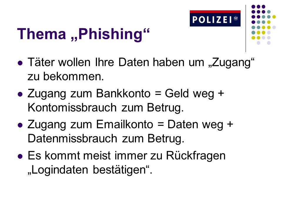 Thema Phishing Täter wollen Ihre Daten haben um Zugang zu bekommen. Zugang zum Bankkonto = Geld weg + Kontomissbrauch zum Betrug. Zugang zum Emailkont