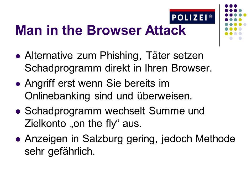 Man in the Browser Attack Alternative zum Phishing, Täter setzen Schadprogramm direkt in Ihren Browser. Angriff erst wenn Sie bereits im Onlinebanking