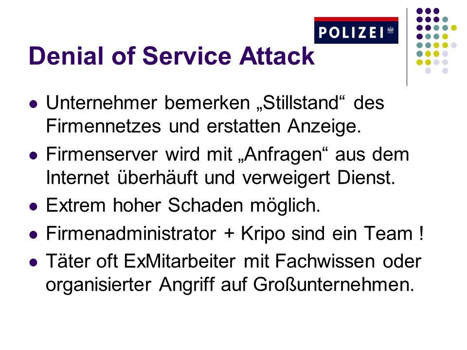 Denial of Service Attack Unternehmer bemerken Stillstand des Firmennetzes und erstatten Anzeige. Firmenserver wird mit Anfragen aus dem Internet überh