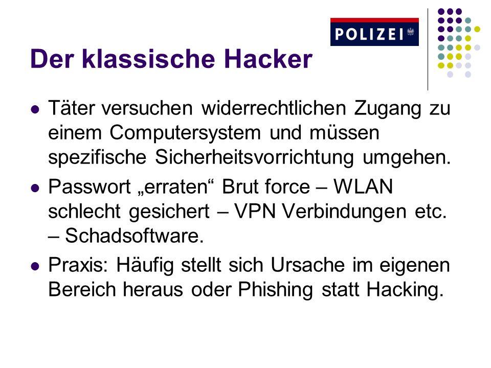 Der klassische Hacker Täter versuchen widerrechtlichen Zugang zu einem Computersystem und müssen spezifische Sicherheitsvorrichtung umgehen.