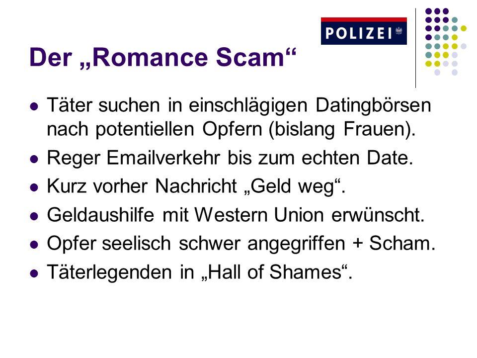 Der Romance Scam Täter suchen in einschlägigen Datingbörsen nach potentiellen Opfern (bislang Frauen). Reger Emailverkehr bis zum echten Date. Kurz vo