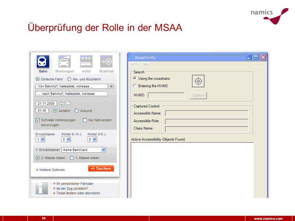 10 www.namics.com Überprüfung der Rolle in der MSAA
