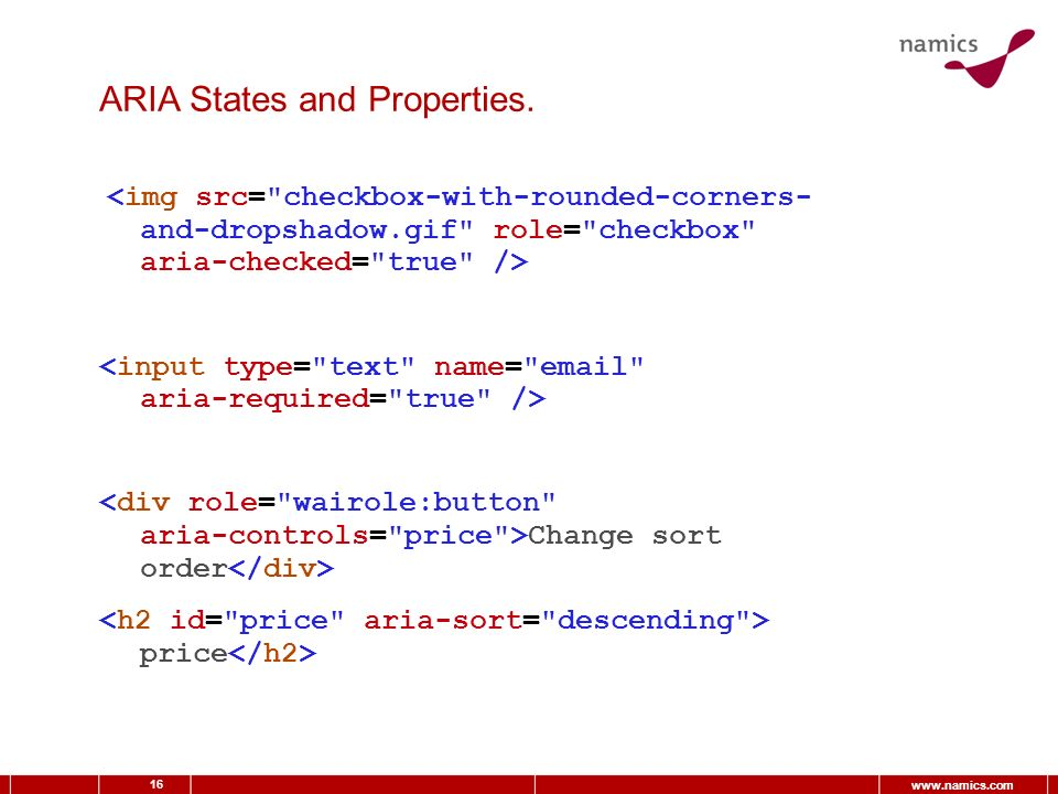 16 www.namics.com ARIA States and Properties. Change sort order price
