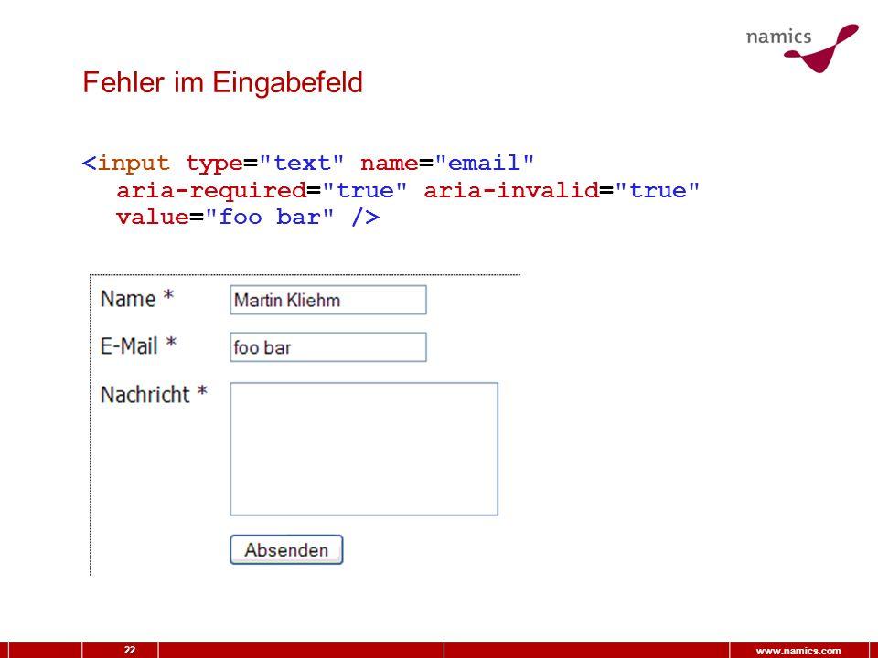 22 www.namics.com Fehler im Eingabefeld