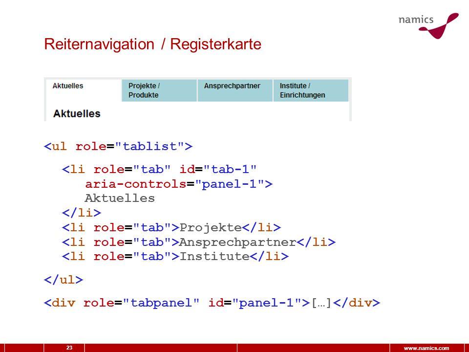 23 www.namics.com Reiternavigation / Registerkarte Aktuelles Projekte Ansprechpartner Institute […]