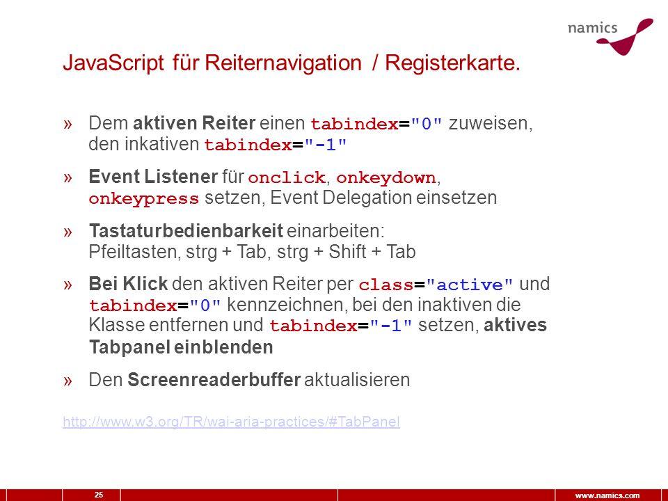 25 www.namics.com JavaScript für Reiternavigation / Registerkarte.