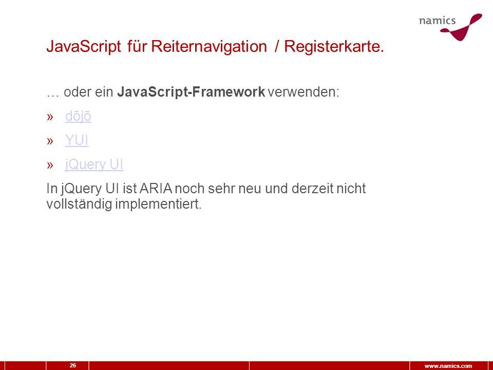 26 www.namics.com JavaScript für Reiternavigation / Registerkarte.