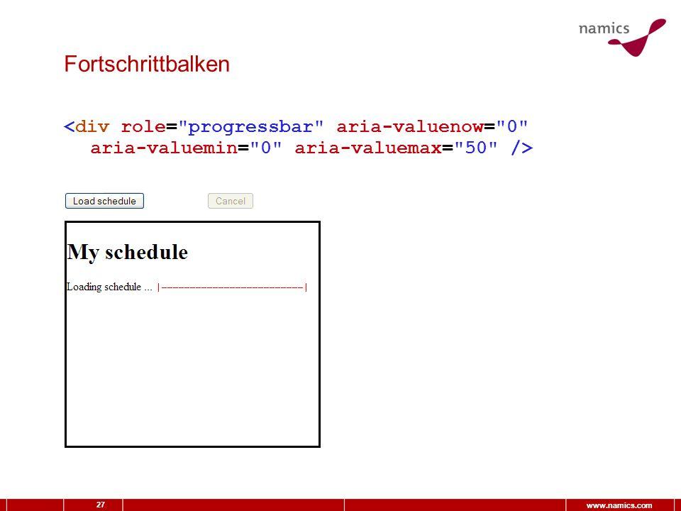 27 www.namics.com Fortschrittbalken