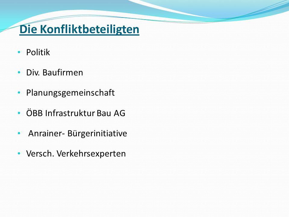 Die Konfliktbeteiligten Politik Div. Baufirmen Planungsgemeinschaft ÖBB Infrastruktur Bau AG Anrainer- Bürgerinitiative Versch. Verkehrsexperten
