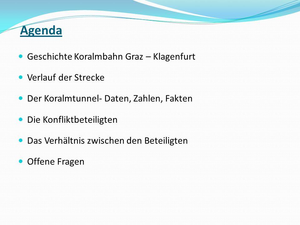 Agenda Geschichte Koralmbahn Graz – Klagenfurt Verlauf der Strecke Der Koralmtunnel- Daten, Zahlen, Fakten Die Konfliktbeteiligten Das Verhältnis zwis