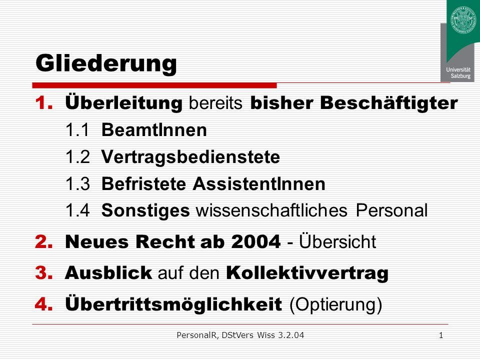 Neues Personalrecht wissenschaftl. Personal nach dem Universitätsgesetz 2002 Information im Rahmen der Dienststellenversammlung Salzburg, 3. 2. 2004 a