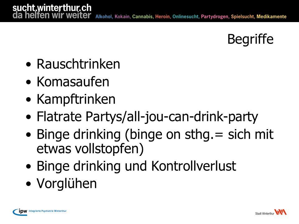 Begriffe Rauschtrinken Komasaufen Kampftrinken Flatrate Partys/all-jou-can-drink-party Binge drinking (binge on sthg.= sich mit etwas vollstopfen) Bin