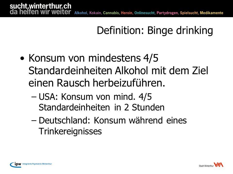 Definition: Binge drinking Konsum von mindestens 4/5 Standardeinheiten Alkohol mit dem Ziel einen Rausch herbeizuführen. –USA: Konsum von mind. 4/5 St