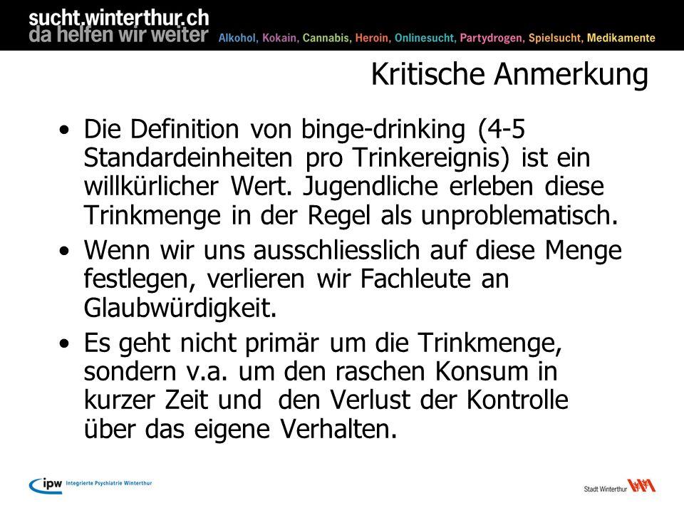 Kritische Anmerkung Die Definition von binge-drinking (4-5 Standardeinheiten pro Trinkereignis) ist ein willkürlicher Wert. Jugendliche erleben diese