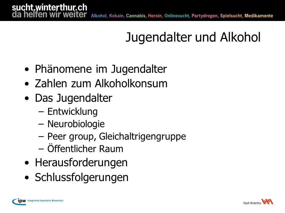 Jugendalter und Alkohol Phänomene im Jugendalter Zahlen zum Alkoholkonsum Das Jugendalter –Entwicklung –Neurobiologie –Peer group, Gleichaltrigengrupp