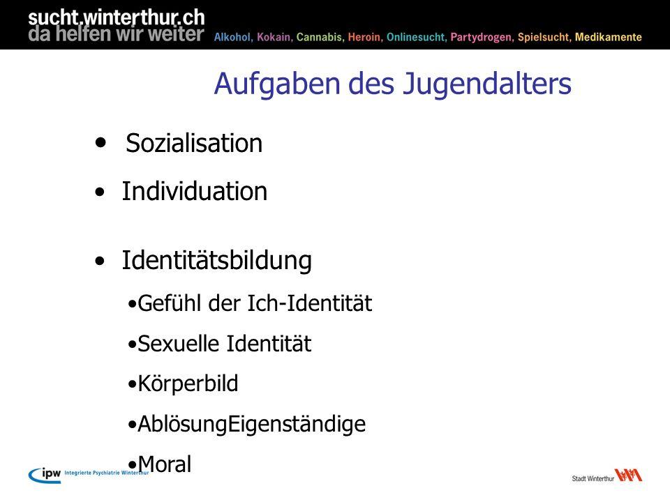 Aufgaben des Jugendalters Sozialisation Individuation Identitätsbildung Gefühl der Ich-Identität Sexuelle Identität Körperbild AblösungEigenständige M