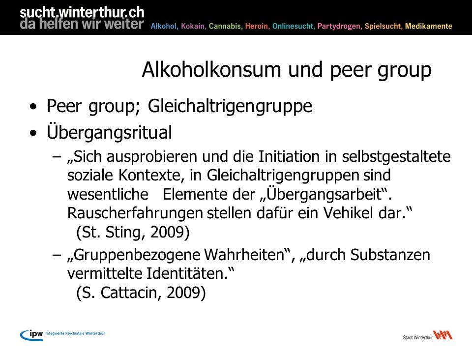Alkoholkonsum und peer group Peer group; Gleichaltrigengruppe Übergangsritual –Sich ausprobieren und die Initiation in selbstgestaltete soziale Kontex