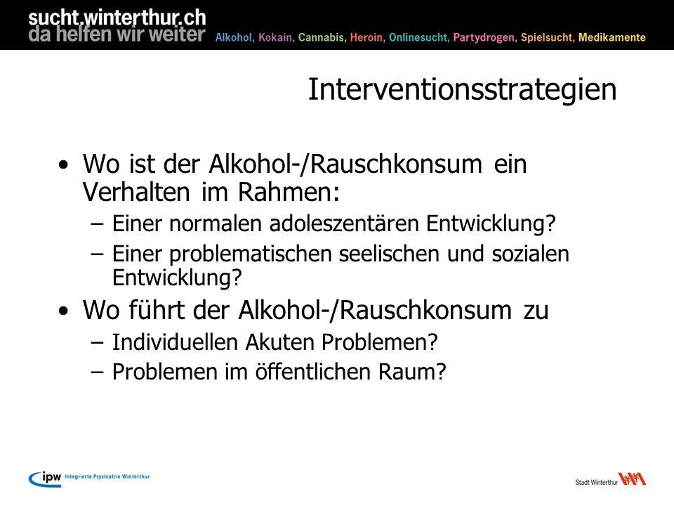 Interventionsstrategien Wo ist der Alkohol-/Rauschkonsum ein Verhalten im Rahmen: –Einer normalen adoleszentären Entwicklung? –Einer problematischen s