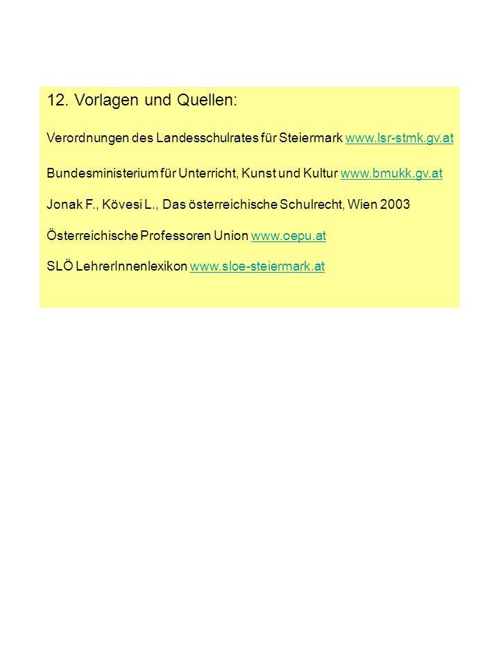 12. Vorlagen und Quellen: Verordnungen des Landesschulrates für Steiermark www.lsr-stmk.gv.atwww.lsr-stmk.gv.at Bundesministerium für Unterricht, Kuns