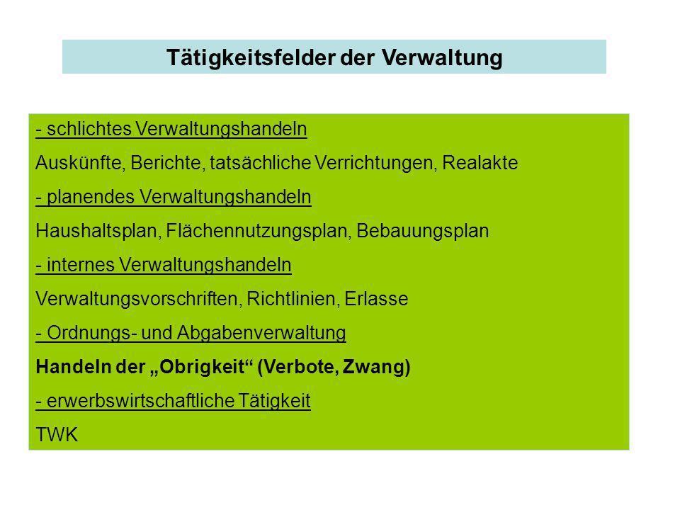 Tätigkeitsfelder der Verwaltung - schlichtes Verwaltungshandeln Auskünfte, Berichte, tatsächliche Verrichtungen, Realakte - planendes Verwaltungshande