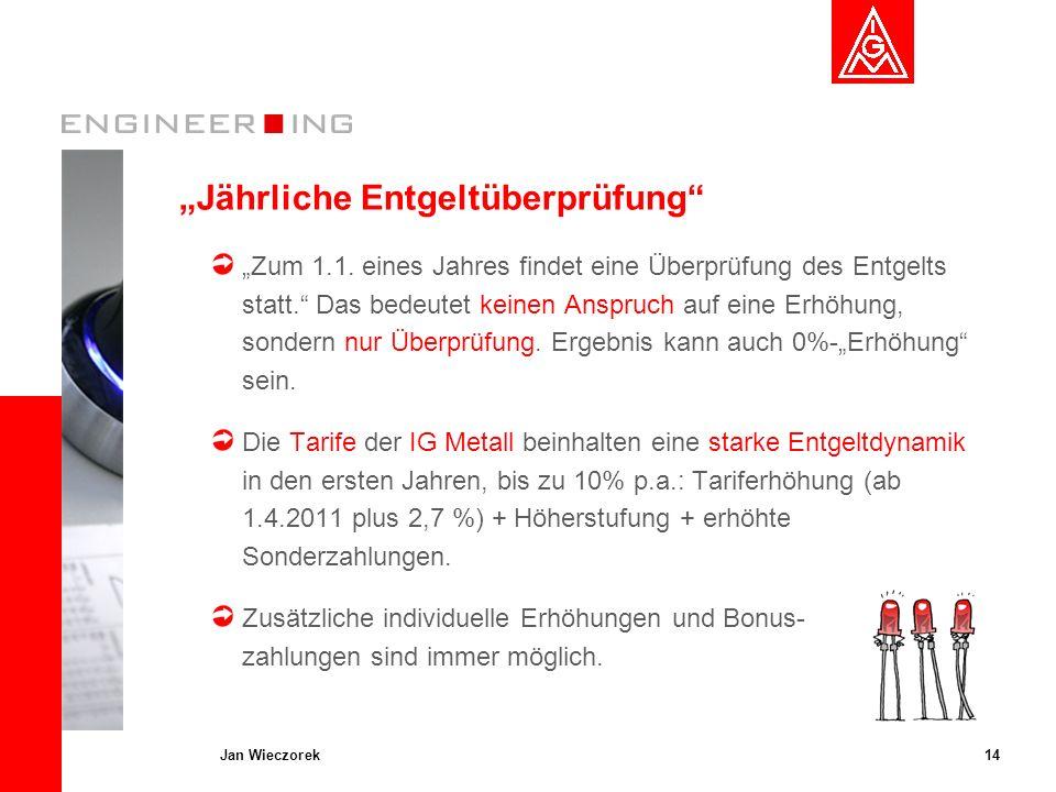 14Jan Wieczorek Jährliche Entgeltüberprüfung Zum 1.1. eines Jahres findet eine Überprüfung des Entgelts statt. Das bedeutet keinen Anspruch auf eine E