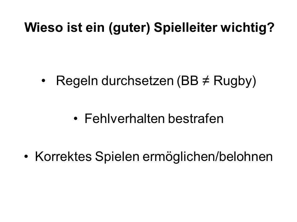 Wieso ist ein (guter) Spielleiter wichtig? Regeln durchsetzen (BB Rugby) Fehlverhalten bestrafen Korrektes Spielen ermöglichen/belohnen