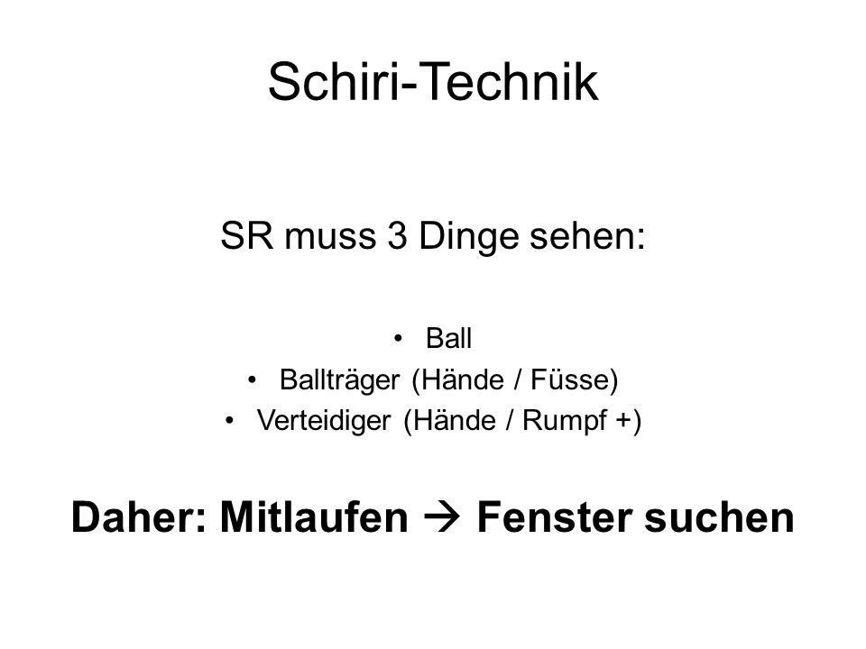 Schiri-Technik SR muss 3 Dinge sehen: Ball Ballträger (Hände / Füsse) Verteidiger (Hände / Rumpf +) Daher: Mitlaufen Fenster suchen