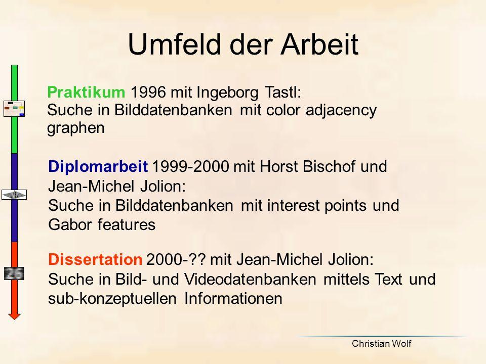 Christian Wolf Umfeld der Arbeit Praktikum 1996 mit Ingeborg Tastl: Suche in Bilddatenbanken mit color adjacency graphen Dissertation 2000-?.