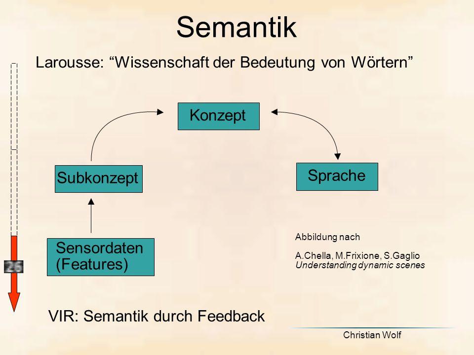 Semantik Larousse: Wissenschaft der Bedeutung von Wörtern Sensordaten (Features) Subkonzept Sprache Abbildung nach A.Chella, M.Frixione, S.Gaglio Understanding dynamic scenes Konzept VIR: Semantik durch Feedback