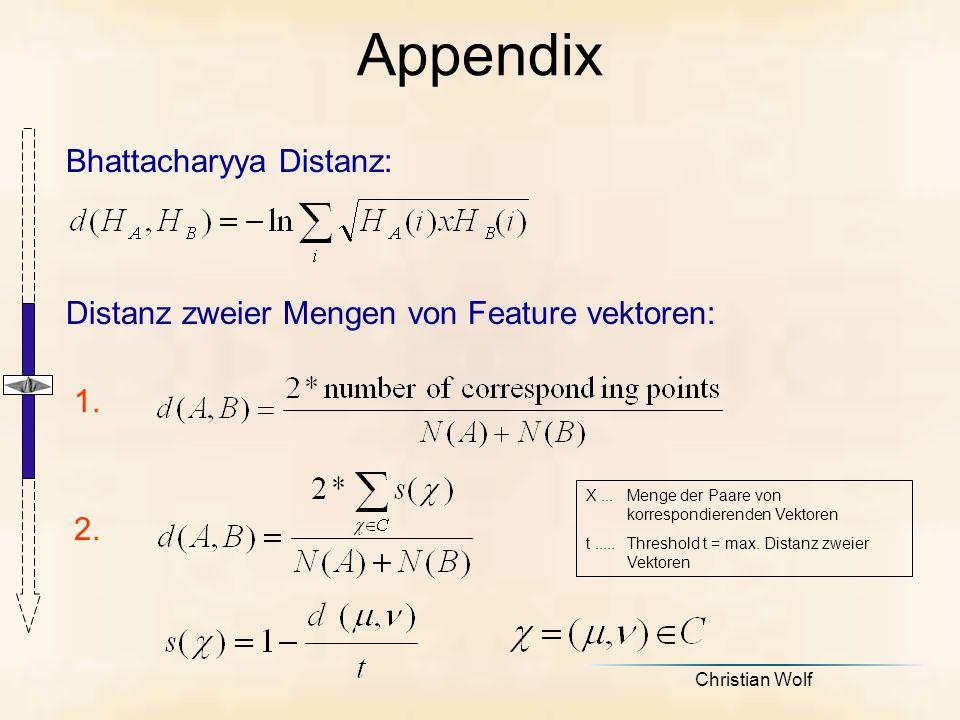 Christian Wolf Bhattacharyya Distanz: Appendix Distanz zweier Mengen von Feature vektoren: 1.