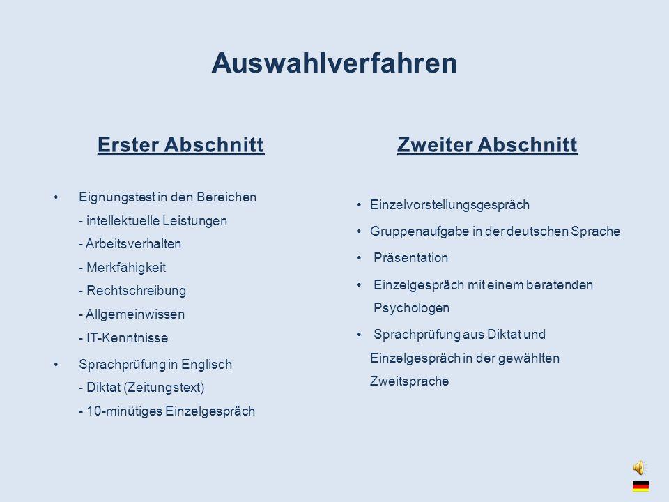 Eignungstest in den Bereichen - intellektuelle Leistungen - Arbeitsverhalten - Merkfähigkeit - Rechtschreibung - Allgemeinwissen - IT-Kenntnisse Sprac