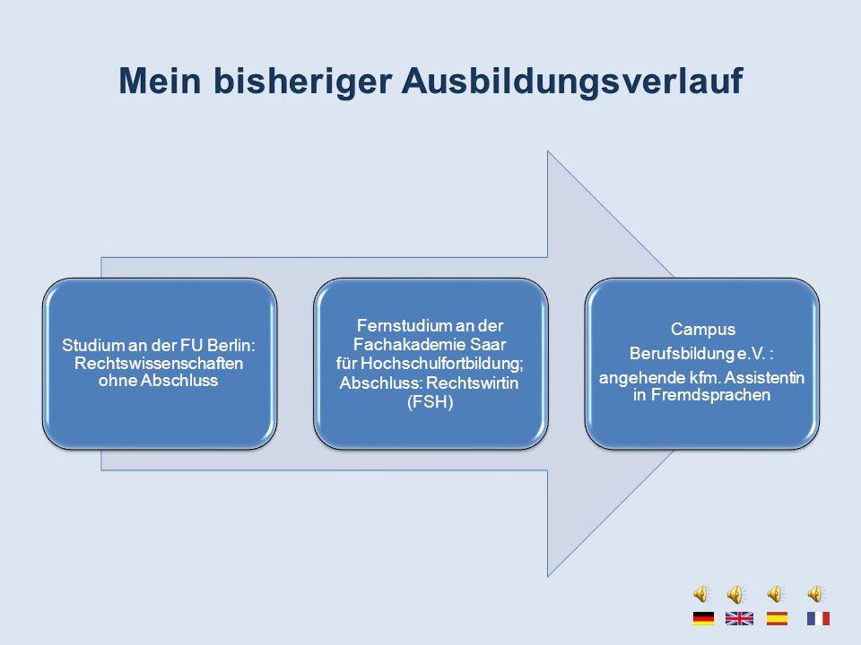 Studium an der FU Berlin: Rechtswissenschaften ohne Abschluss Fernstudium an der Fachakademie Saar für Hochschulfortbildung; Abschluss: Rechtswirtin (