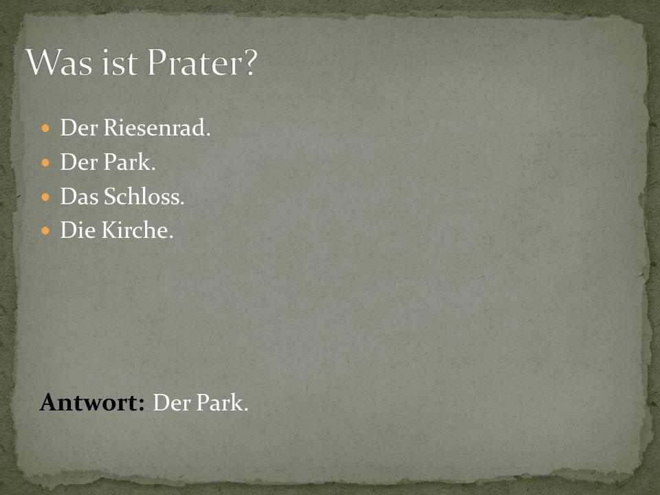 Der Riesenrad. Der Park. Das Schloss. Die Kirche. Antwort: Der Park.