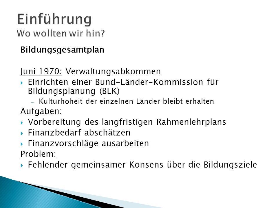 Bildungsgesamtplan Juni 1970: Verwaltungsabkommen Einrichten einer Bund-Länder-Kommission für Bildungsplanung (BLK) Kulturhoheit der einzelnen Länder