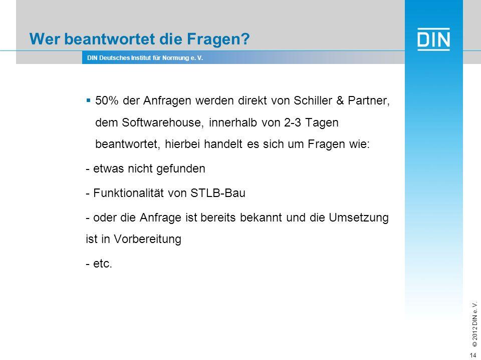 DIN Deutsches Institut für Normung e. V. © 2012 DIN e. V. Wer beantwortet die Fragen? 50% der Anfragen werden direkt von Schiller & Partner, dem Softw