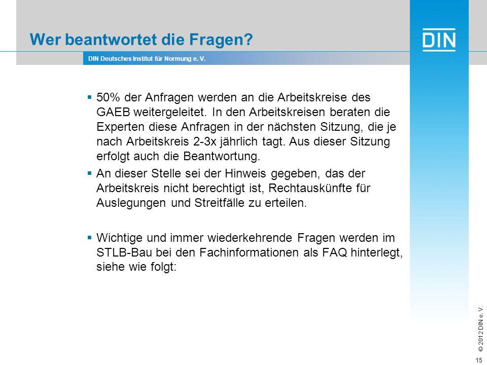 DIN Deutsches Institut für Normung e. V. © 2012 DIN e. V. Wer beantwortet die Fragen? 50% der Anfragen werden an die Arbeitskreise des GAEB weitergele