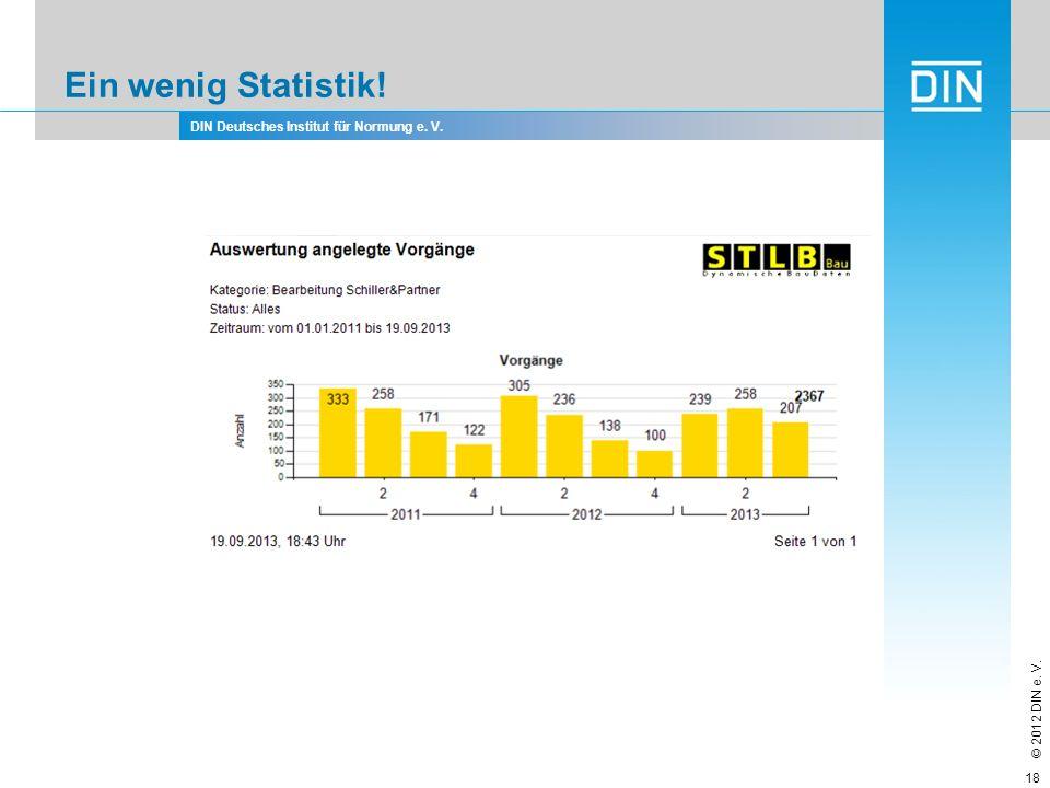 DIN Deutsches Institut für Normung e. V. © 2012 DIN e. V. Ein wenig Statistik! 18