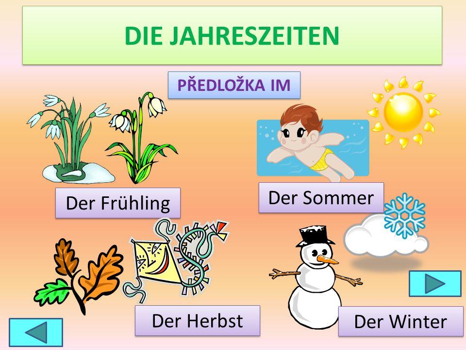 DIE JAHRESZEITEN Der Frühling Der Sommer Der Winter Der Herbst PŘEDLOŽKA IM