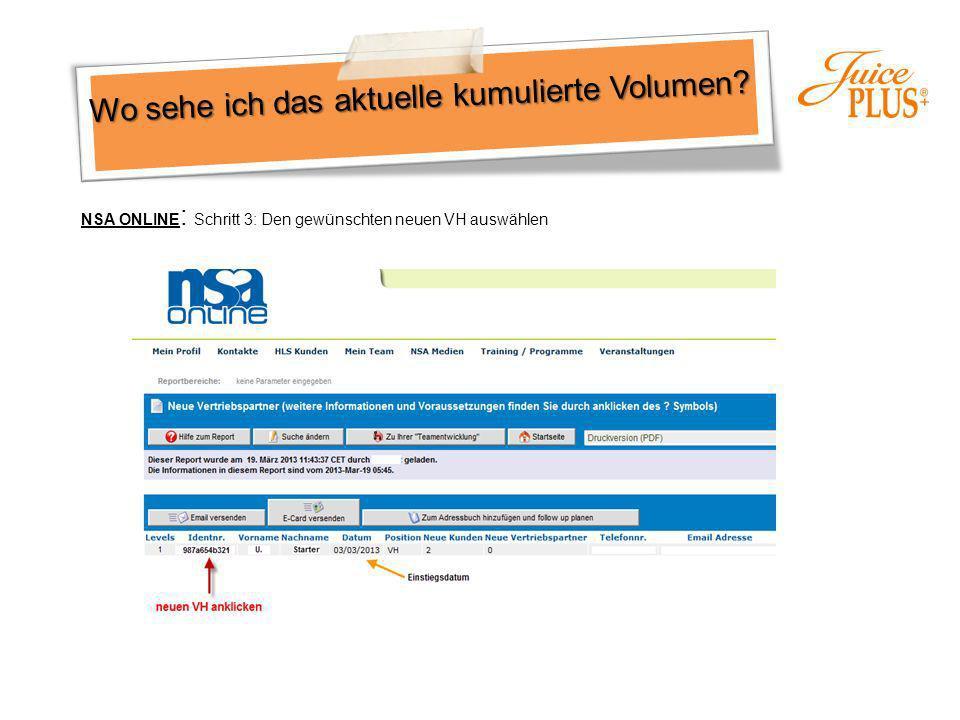 Wo sehe ich das aktuelle kumulierte Volumen? NSA ONLINE : Schritt 3: Den gewünschten neuen VH auswählen
