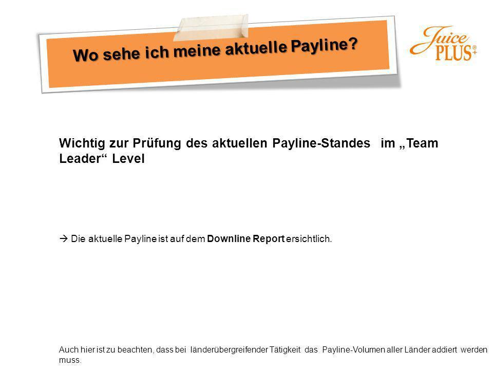 Wichtig zur Prüfung des aktuellen Payline-Standes im Team Leader Level Die aktuelle Payline ist auf dem Downline Report ersichtlich. Auch hier ist zu