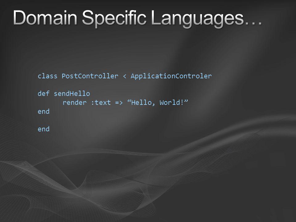 class PostController < ApplicationControler def sendHello render :text => Hello, World! end