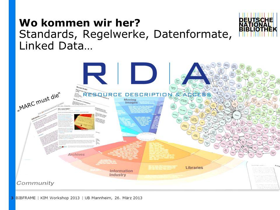 Wo kommen wir her? Standards, Regelwerke, Datenformate, Linked Data… BIBFRAME | KIM Workshop 2013 | UB Mannheim, 26. März 2013 3 MARC must die