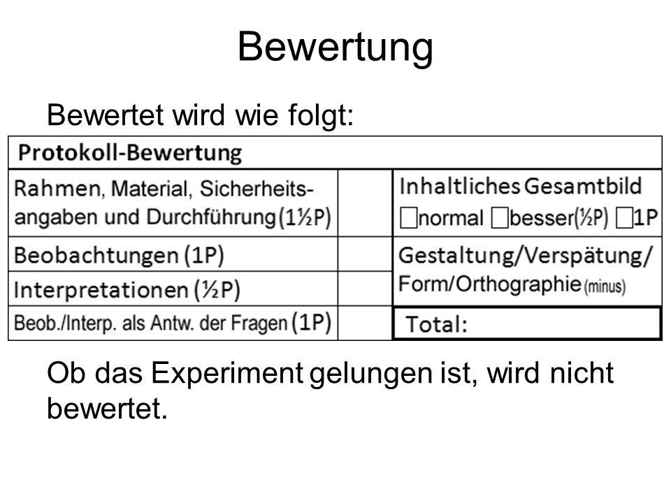 Bewertung Bewertet wird wie folgt: Ob das Experiment gelungen ist, wird nicht bewertet.