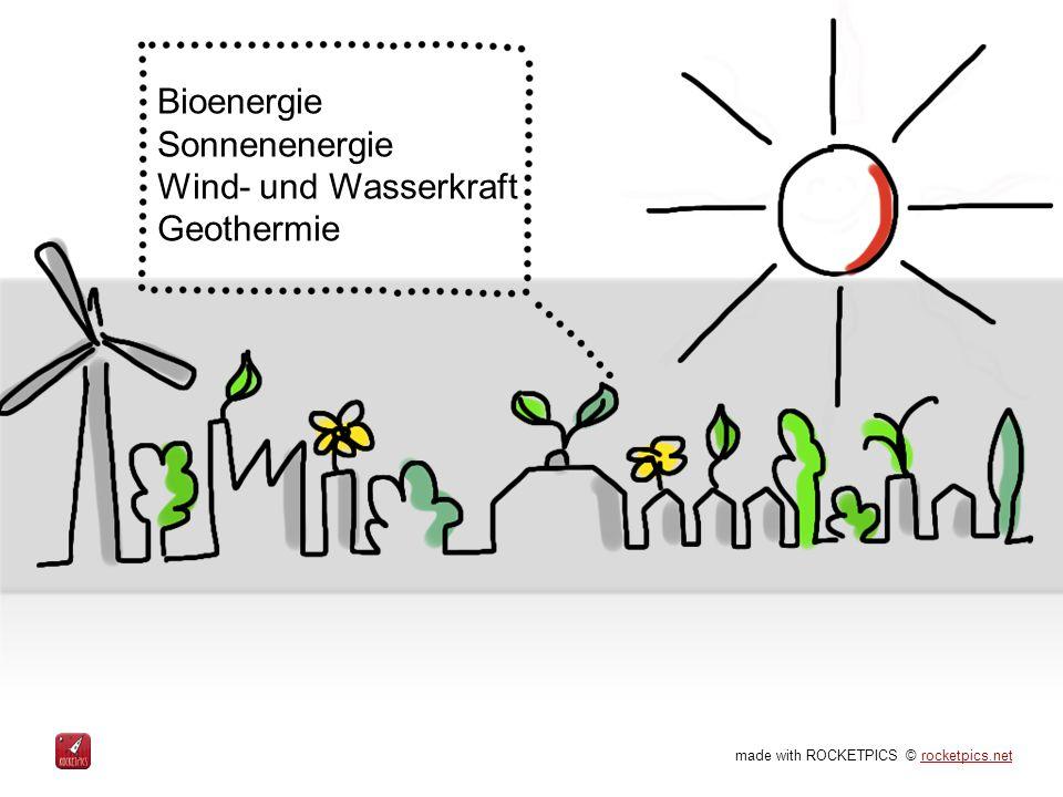 made with ROCKETPICS © rocketpics.netrocketpics.net Bioenergie Sonnenenergie Wind- und Wasserkraft Geothermie